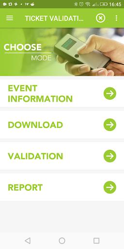Ticket Validation App Main Menu in KOAMTACON by KOAMTAC